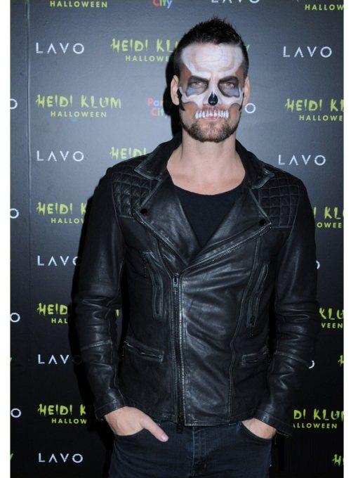American singer Adam Lambert Halloween Party Leather Jacket