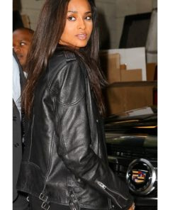 American Singer Ciara Motorbiker Black Leather Jacket
