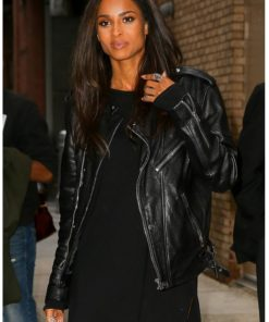 Ciara Motorbiker Black Leather Jacket