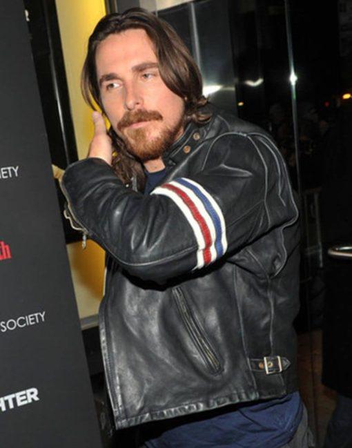 Christian Bale US Flag Leather Jacket