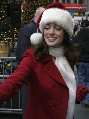 Stylish Anne Hathaway Christmas Coat