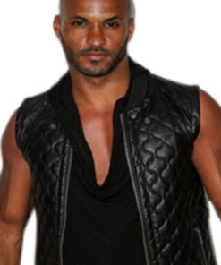 Actor Ricky Whittle Quilted Leather Vest