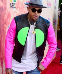 Singer Chris Brown Pink Sleeves Jacket