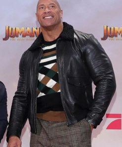 Jumanji The Next Level The Rock Shearling Leather Jacket
