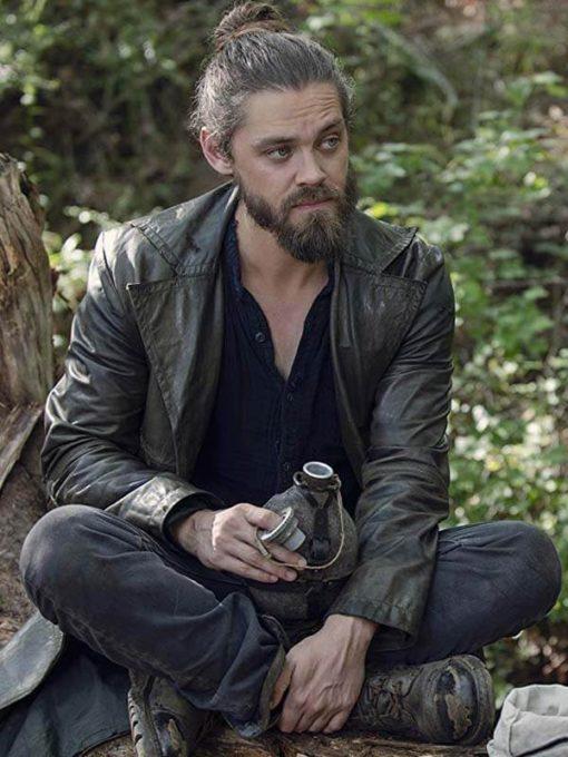 Tom Payne Walking Dead Distressed Leather Coat