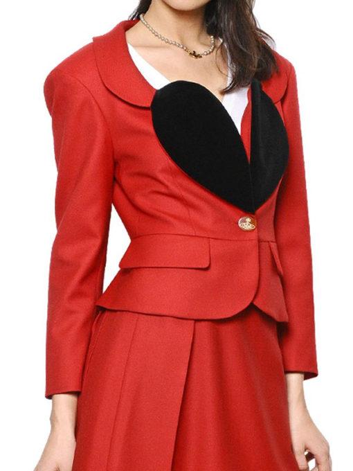 Vivienne Black Heart Shape Lapel Red Blazer