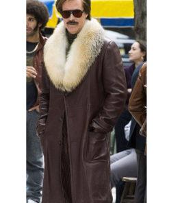 Ron Burgundy Anchorman 2 Leather Coat