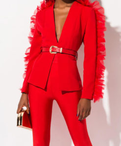 Red Ruffle Blazer Jacket