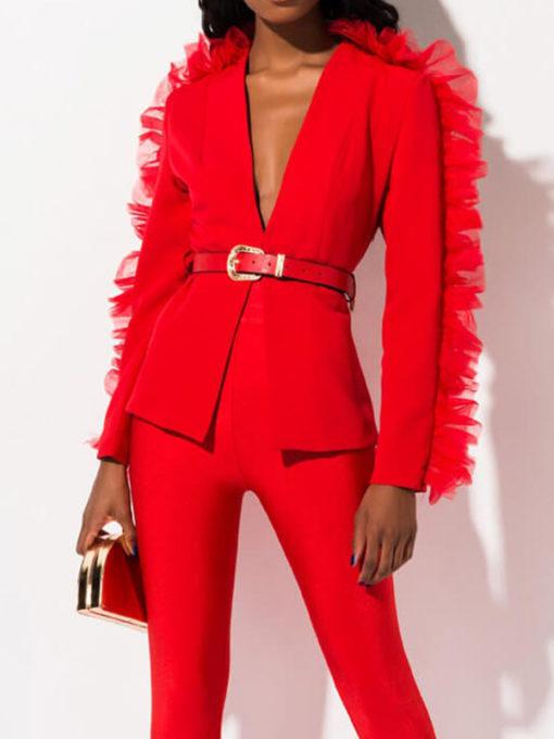 Red Ruffle Blazer Jacket
