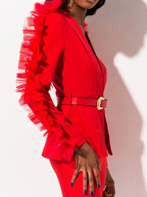 Women Ruffle Blazer Jacket
