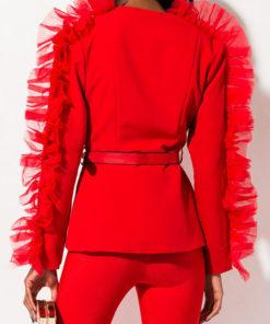 Women Love Ruffle Blazer Jacket