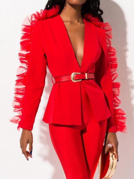 Women Red Ruffle Blazer Jacket