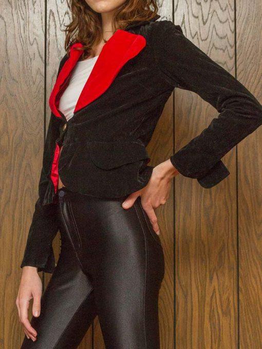 Red Heart Shape Black Blazer