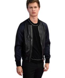 Ansel Elgort Leather Bomber Varsity Jacket