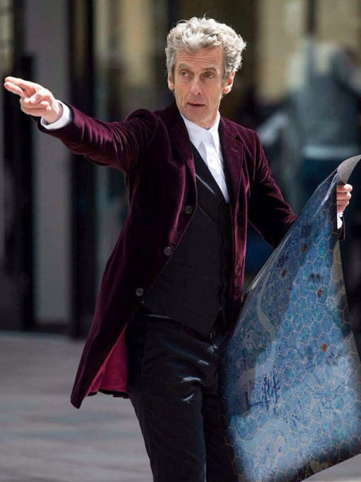 12th Doctor Who Smith Maroon Velvet Coat for Mens