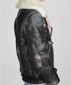 Women Faux Fur Collar Leather Jacket