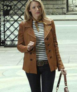 Gossip Girl Blake Lively Brown Jacket
