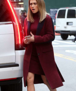 Second Act Set NYC Jennifer Lopez Maroon Coat