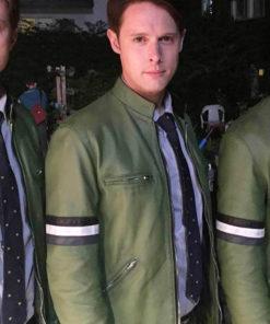 Samuel Barnett Green Leather Jacket