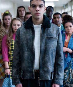 Sami Outalbali Season 2 Sex Education Distressed Leather Jacket