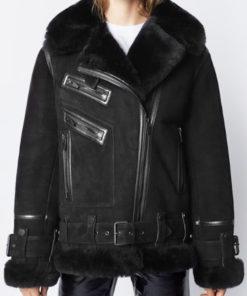 Women Suede Shearling Black Jacket