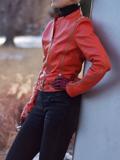 Women Classic Red leather Jacket
