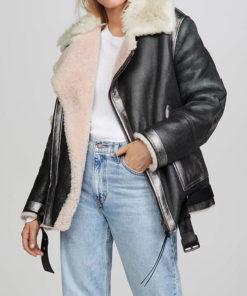 Women Fur Collar Leather Jacket