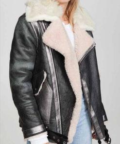 Women Faux Fur Collar Black Jacket