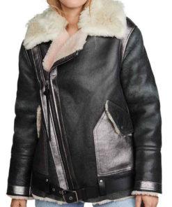 Women Faux Fur Collar Black Leather Jacket