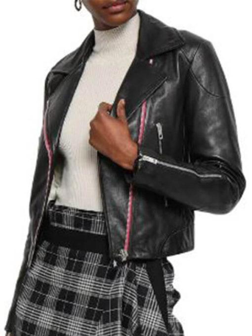 Women Funky Asymmetrical Leather Jacket