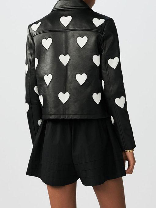 Women Heart Black Leather Jacket