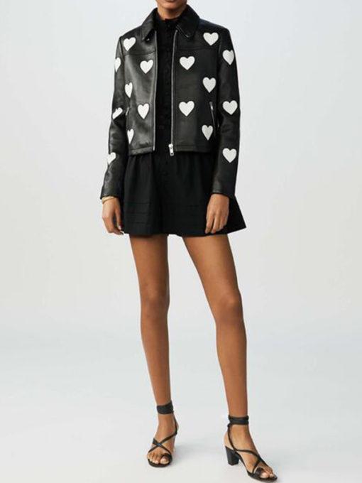 Women Heart Design Leather Jacket