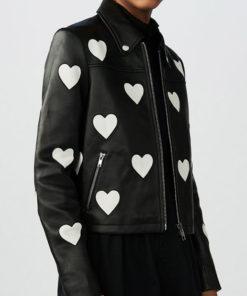 Women Heart Leather Jacket