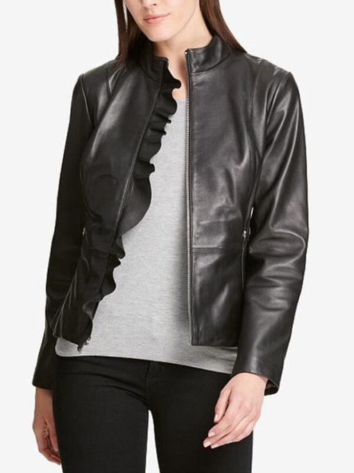 Women Classic Ruffle Black Jacket