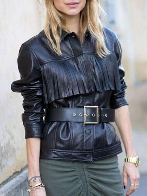 Women Street Style Fringe Black Jacket