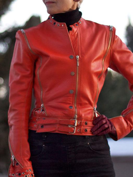 Womens Classic Red Biker Jacket
