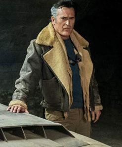 Evil Ash Ash vs Evil Dead Bomber Aviator Shearling Jacket