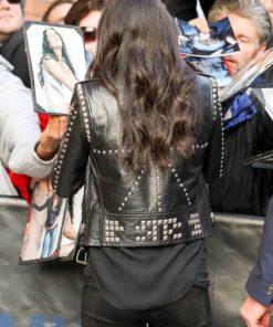 F9 New York City Premiere Michelle Rodriguez Black Studded Jacket