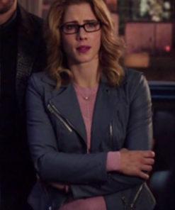 Felicity Smoak TV Series Arrow Season 7 Grey Leather Jacket