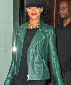Rihanna Green Brando Biker Jacket