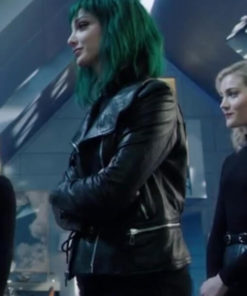 Black Leather Jacket worn by Emma Dumont in TV Series The Gifted