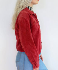 Classic Style Red Suede Leather Jacket for Womens