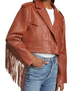 Women Fringe Crop Leather Jacket