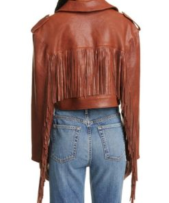 Women Fringe Crop Brown Jacket