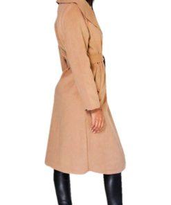 Ladies Belted Shawl Collar Brown Coat
