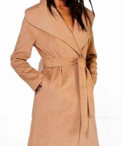 Ladies Belted Shawl Collar Coat