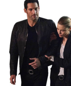 Lucifer Tom Ellis Black Leather Jacket