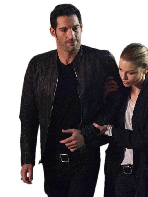 Lucifer Tom Ellis Black Leather Jacket