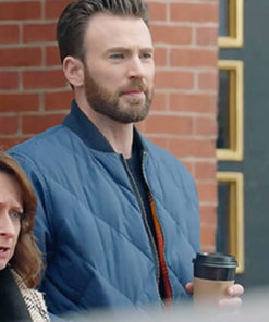 Super Bowl Show Chris Evans Quilted Bomber Jacket