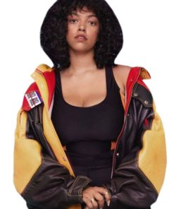 Leather Jacket Teddy of Mahalia in Video Clip Hide Out - A Colors Show